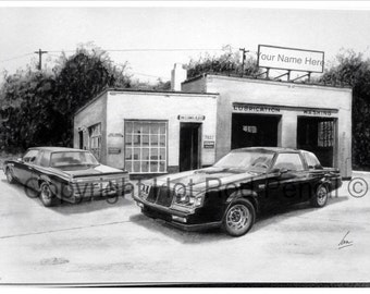 84-85-86-87 Buick Grand National Customized Pencil Drawing Print