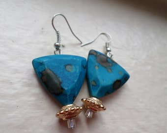 Old Fashioned Blue Triangle Earrings