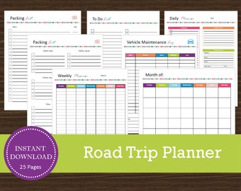A5 Road Trip Planner - INSTANT PDF DOWNLOAD - 24 Pages