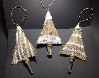Rustic Christmas Ornaments, Christmas Trees, Christmas Decorations Set of 3
