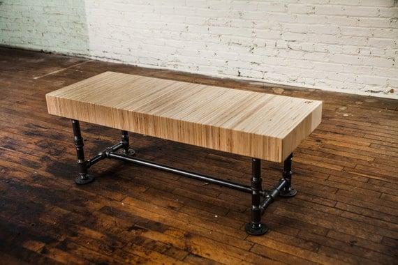Laminated Steel Pipe ~ Large wooden bench laminated black pipe modern