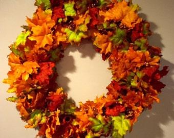 Fall Leaves Grapevine Wreath