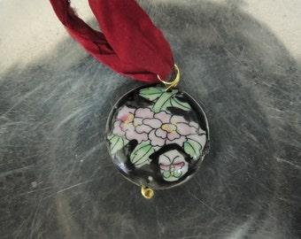 sari silk and ceramic pendant