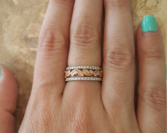 Leaves Engagement Ring, Two Tone Ring, Wedding Ring, Wedding Band, Rose Gold Ring, Unique Ring, Eternity Ring, Promise Ring, Diamond Ring