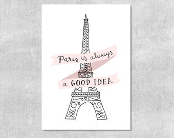 Paris Is Always A Good Idea Print Audrey Hepburn Quote Paris Wall Art Pink and Black Decor Gift For Her Eiffel Tower Illustration