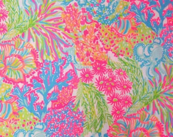 Multi LOVERS CORAL Poplin Cotton Summer 2016 fabric 18x18 or 18x9 Lilly