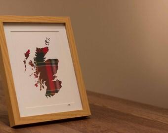 Scotland // Map // Paper Cutting // Tartan // Modern // Home Decor // Handmade