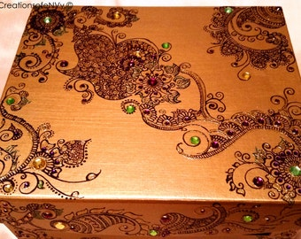 Gold Wedding Card Box, Henna/Mendhi design,  Hand painted with Gem Stones