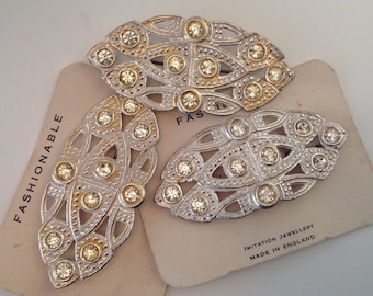 3 Vintage Brooches, Silver Metal with Sparkly Stones.