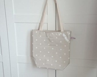 Tote Bag in Beige with White Spots