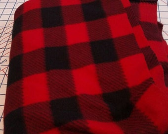 Red and black flannel fleece blanket