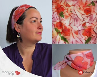 Poppy  headband, Hand painted neckband, Small square scarf, Scarf with red flowers, Red and purple accessory, Gift idea, Silk paints