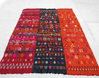 SALE! 25%OFF USD 2,500.00 Nomadic Embroidery Kilim Rug In Three Panel Some Embroideries WornOut 159cmx250cm-5'2.6''x8'2.4''Excluding Fringes