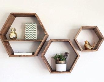 Honeycomb Shelf, Honeycomb Shelves, Hex Shelves, Hexagon Shelves, Geometric Shelf, Floating Hex Shelf, Floating Honeycomb Shelf