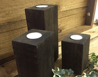 Dark Stained Pallet wood candle holder set of three