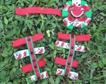 Watermelon set/baby gladiators /barefoot sandals / flower headband/ summer set