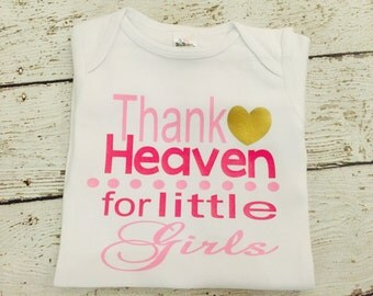 Thank Heaven for little girls newborn bodysuit or gown, Baby shower gift, baby girl take home outfit, newborn girl hospital outfit