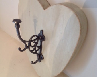 Large fancy stave hook on distressed painted pine heart