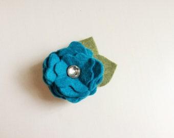 Turquoise ruffle felt rose blossom flower with rhinestone embellishment - alligator clip - headband