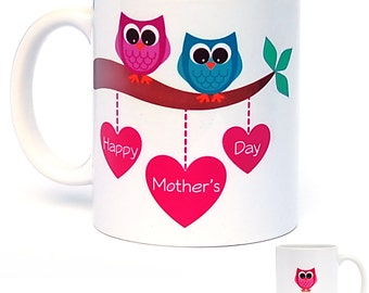 Personalised Mother's Day Coffee Mug - Owls - Keepsake Gift - Unique Gift