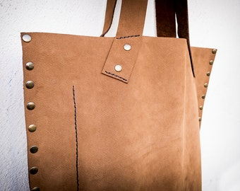 Large leather tote bag, Leather tote woman