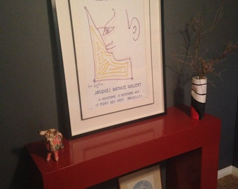 Lithograph, lithograph art,Vintage,Mid century,modern art, Jean Cocteau framed original lithograph-similar to picasso, basquiat and warhol.