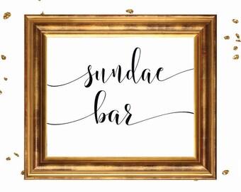 Wedding Sign, Sundae Bar Sign, DIY wedding sign printable, wedding signage, bridal signs, calligraphy signs, printablestyles