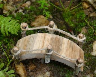 Miniature Arched Fairy Bridge, Rustic Wooden Bridge, Fairy Garden Accessory