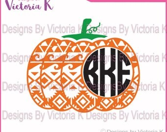 Aztec Pumpkin, Monogram,Fall, Halloween, Pattern, SVG, PNG, EPS Files, Cricut Design Space, Vinyl cut Files