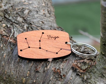 Virgo zodiac constellation urban wood keychain // birthday gift // valentines gift
