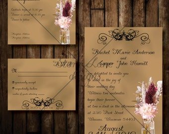 "Wedding Invitation/RSVP/Reception Card ""Chic Rustic"""