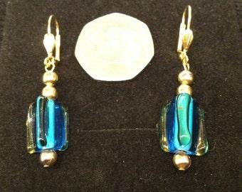 Pair of blue beaded handmade earrings