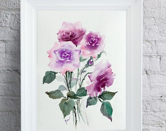 Mother's Day gift, June birthday flower, purple roses, original watercolor painting, watercolor roses, original rose painting, small artwork