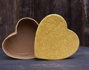 Gold Heart Box, Glittered Box, Decorative Gift Box, Paper Mache