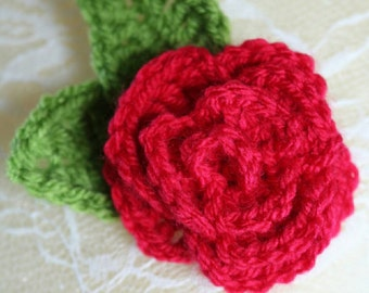 Flower broach. Crochet rose, red flower pin badge broach.