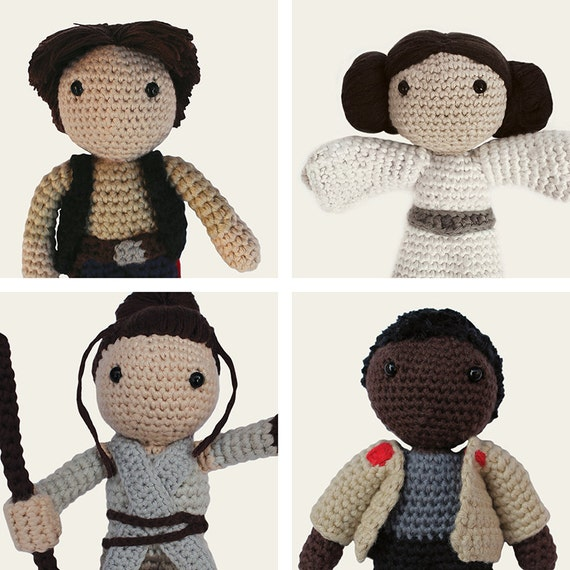 Star Wars Pack: Han Solo, Leia, Rey & Finn. Amigurumi Pattern PDF.