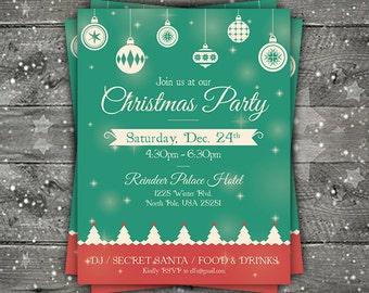 Christmas Flyer, Christmas Party Flyer, Merry Christmas Flyer, Personalized Flyer, Retro, Christmas party invite, custom Christmas flyers