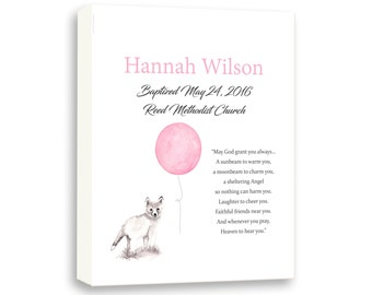 Baby Girl Baptism Gift, Girls Christening Keepsake - Gallery Wrapped Canvas