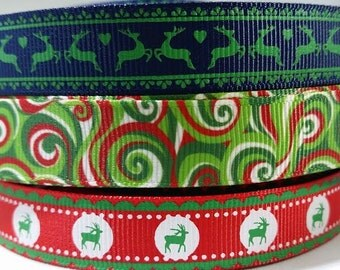 Christmas Ribbon 5/8 inch Grosgrain Ribbon by the Yard for Hair bows, Headbands, Gift Wrapping, Scrapbooking and More