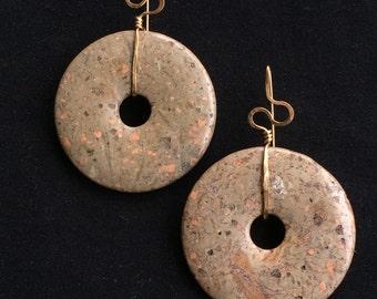 Brass and Stone Loop Drop Earrings