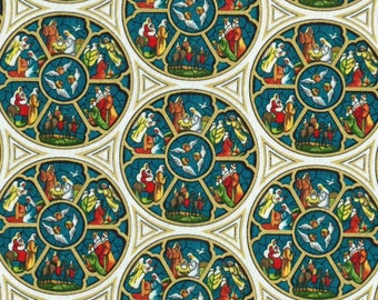 Stained Glass Nativity Christmas fabric, holiday fabric, Christian fabric, Christmas fabric, religious fabric