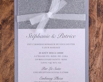 Sparkly Invitation, Sparkly Wedding Invitation, Sparkly Invitations, Sparkly  Wedding Invitation, Silver Glitter