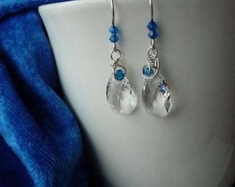 Clear and Colbalt Blue Swarovski Earrings