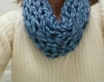 Scarf Cowl Blue Grey Arm Knit