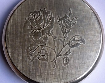 Vintage Stratton Silvertone Embossed Rose Design