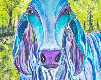 Brahma cow, cow art, cow painting, blue cow, hindu bull