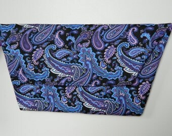 Clutch Bag with Wrist Strap: Paisley print in blue, purple, pink and black
