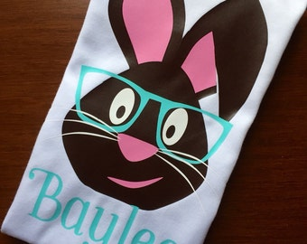 Girls Easter bunny short sleeve shirt.
