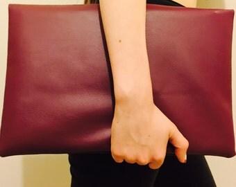 Burgundy Vegan Leather Fold Over Clutch