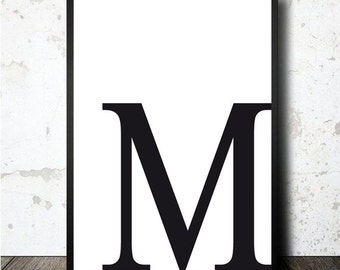 Letter M print poster. PDF downloable and printable in A4 | Etsy